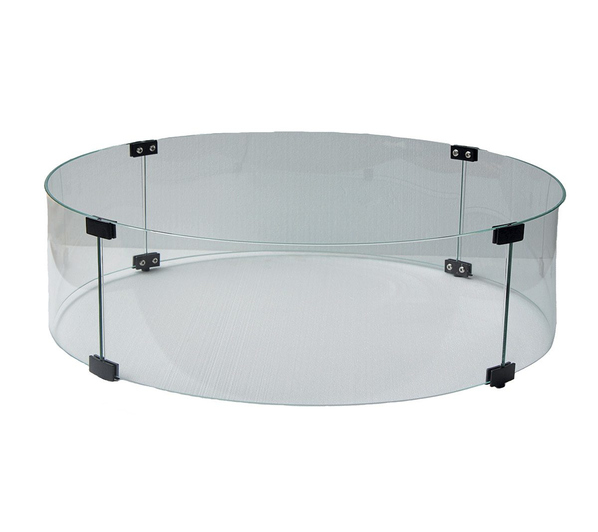 fire pit round clear glass